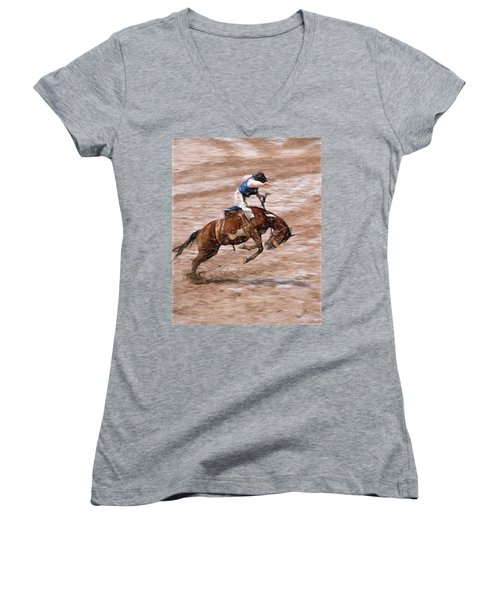 Rodeo Bronc Rider Women's V-Neck T-Shirt (Junior Cut) by John Freidenberg