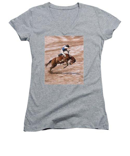 Rodeo Bronc Rider Women's V-Neck T-Shirt