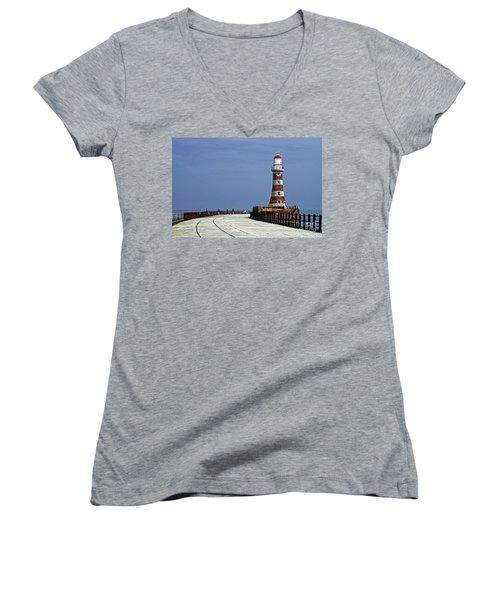 Roker Lighthouse Sunderland Women's V-Neck