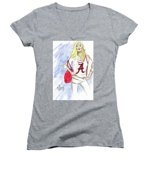 Women's V-Neck T-Shirt (Junior Cut) featuring the painting Roll Tide by P J Lewis