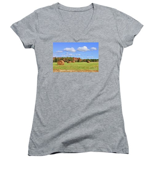 Rolls Of Hay On A Beautiful Day Women's V-Neck T-Shirt