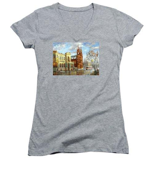 Women's V-Neck T-Shirt (Junior Cut) featuring the painting Roman Catholic Church by Dmitry Spiros