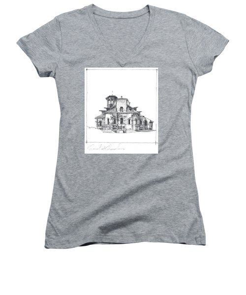 Roman Church At Chamalieres Women's V-Neck