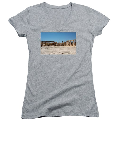 Women's V-Neck featuring the photograph Roman Ruins At Ajloun by Mae Wertz