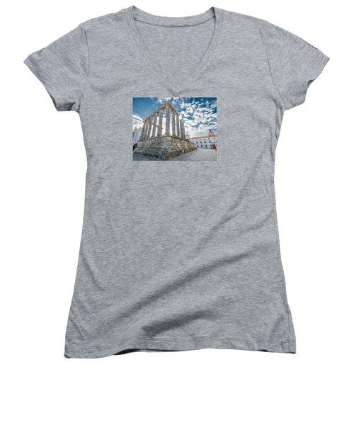 Roman Temple At Evora Women's V-Neck T-Shirt