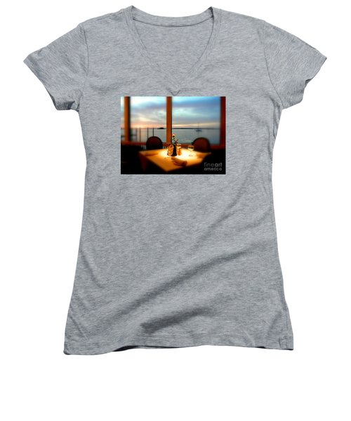 Women's V-Neck T-Shirt (Junior Cut) featuring the photograph Romance by Elfriede Fulda