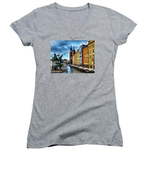 Romance In Krakow Women's V-Neck T-Shirt (Junior Cut) by Kasia Bitner