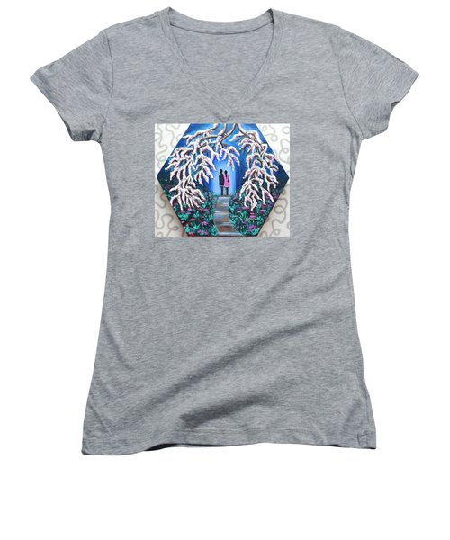 Romance Under Cherry Blossom Textured Hexagonal Painting  Women's V-Neck (Athletic Fit)