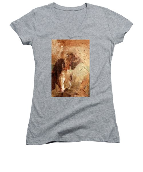 Women's V-Neck T-Shirt (Junior Cut) featuring the digital art Romantic Kiss by Andrea Barbieri