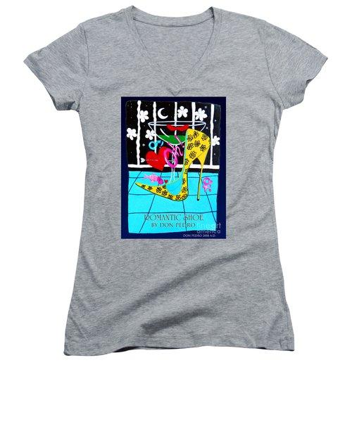 Women's V-Neck T-Shirt (Junior Cut) featuring the painting Romantic Shoe by Don Pedro De Gracia