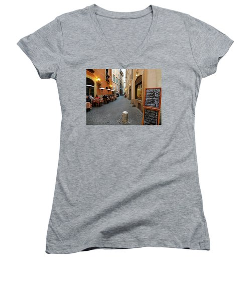 Romantic Streetside Cafe Women's V-Neck