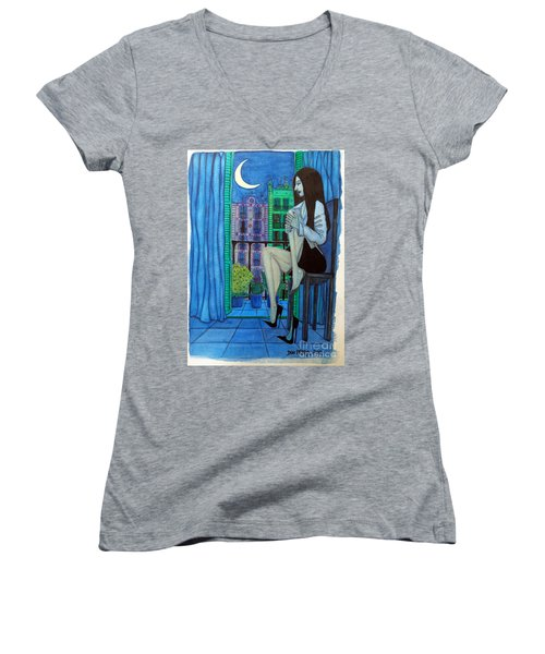 Women's V-Neck T-Shirt (Junior Cut) featuring the painting Romantic Woman At Balcony by Don Pedro De Gracia