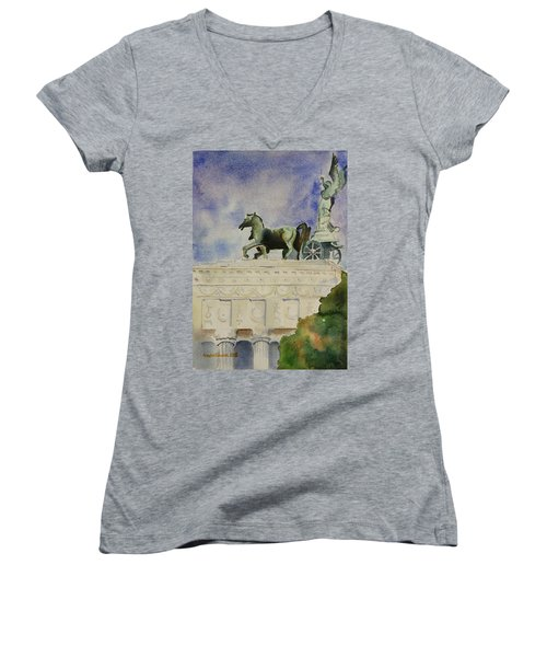 Rome Souvenir Women's V-Neck T-Shirt (Junior Cut) by Geeta Biswas