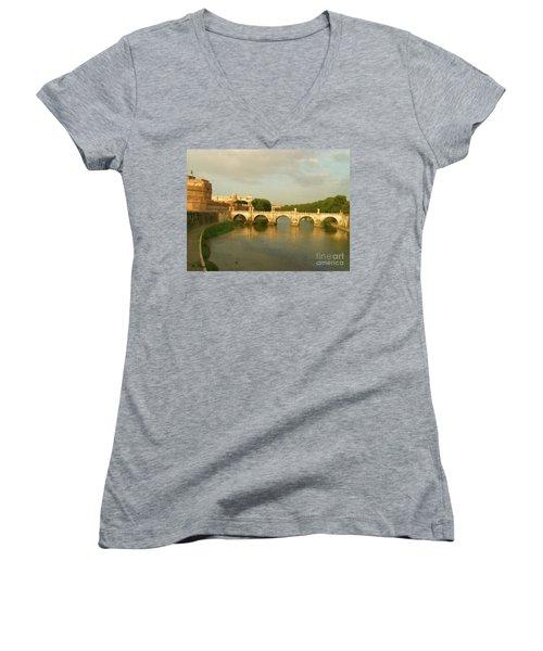 Rome The Eternal City And Tiber River Women's V-Neck