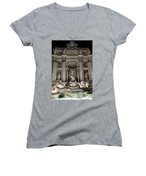 Rome - The Trevi Fountain At Night 3 Women's V-Neck