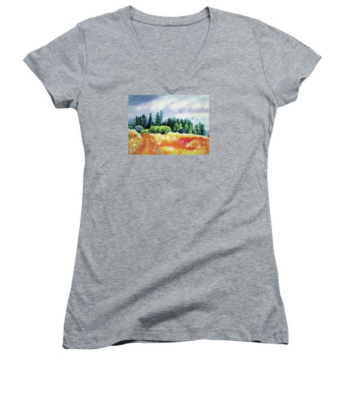 Women's V-Neck T-Shirt (Junior Cut) featuring the painting Romp On The Hill by Kathy Braud