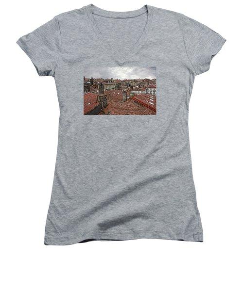 Roofs Over Santiago Women's V-Neck T-Shirt (Junior Cut) by Angel Jesus De la Fuente