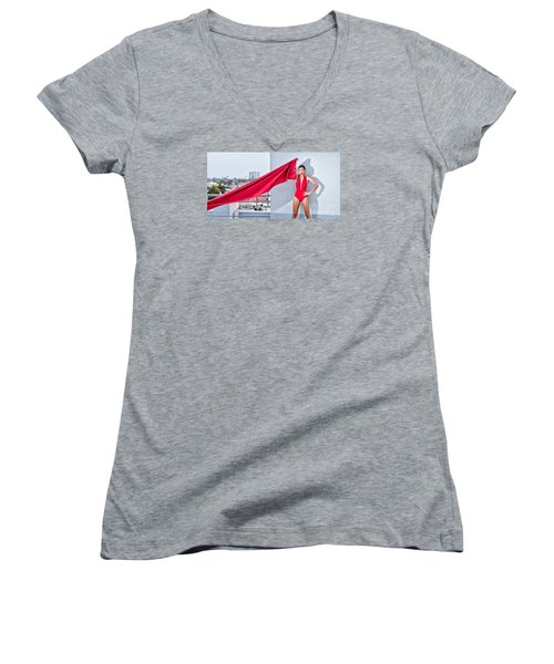 Rooftop Women's V-Neck T-Shirt (Junior Cut) by Gregory Worsham