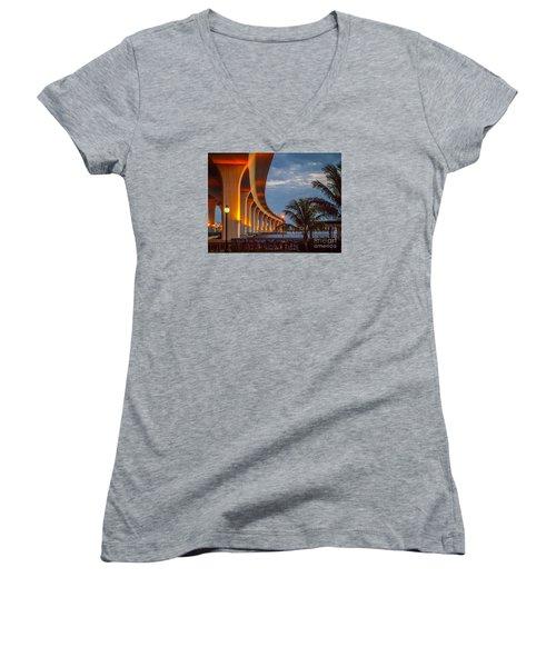 Roosevelt At First Light Women's V-Neck T-Shirt (Junior Cut) by Tom Claud