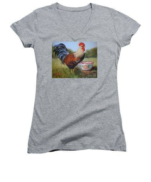 Rooster And Bowl I Women's V-Neck (Athletic Fit)