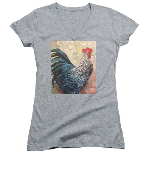 Women's V-Neck T-Shirt (Junior Cut) featuring the painting Rooster Of The Year by Lucia Grilletto