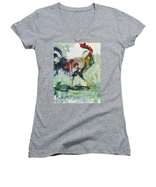 Rooster Painting Women's V-Neck T-Shirt (Junior Cut) by Robert Joyner
