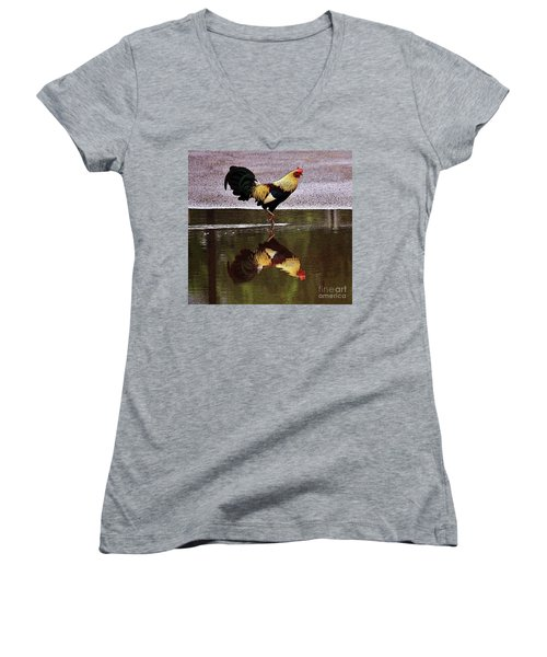 Rooster's Reflection Women's V-Neck T-Shirt (Junior Cut) by Craig Wood