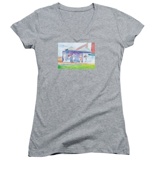 Women's V-Neck T-Shirt (Junior Cut) featuring the painting Roots Retreat Bluegrass by David Sockrider