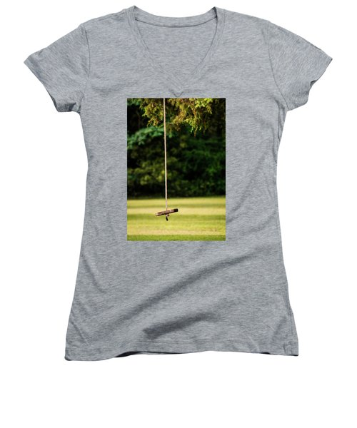 Women's V-Neck T-Shirt (Junior Cut) featuring the photograph Rope Swing  by Shelby Young