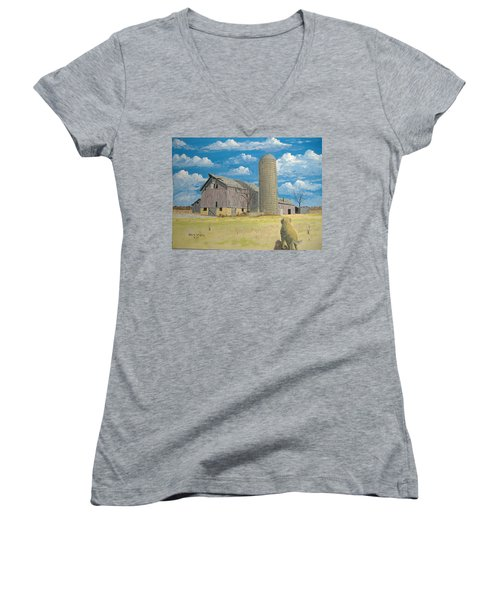 Women's V-Neck T-Shirt (Junior Cut) featuring the painting Rorabeck Barn by Norm Starks