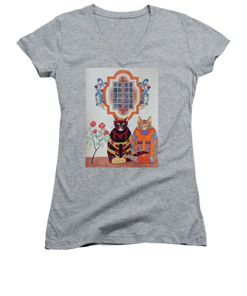 Rosa And Pedro Of The Rose Window Of Mission San Jose Women's V-Neck