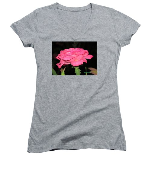 Women's V-Neck T-Shirt (Junior Cut) featuring the photograph Rose 1 by Phyllis Beiser