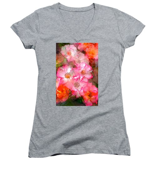 Rose 140 Women's V-Neck T-Shirt (Junior Cut) by Pamela Cooper