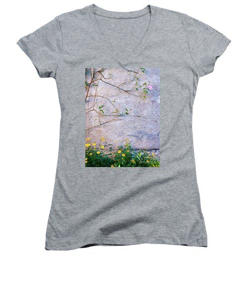 Women's V-Neck T-Shirt featuring the photograph Rose And Yellow Flowers by Silvia Ganora