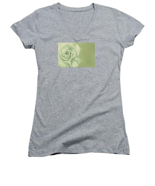 Women's V-Neck T-Shirt (Junior Cut) featuring the photograph Rose Antique by The Art Of Marilyn Ridoutt-Greene