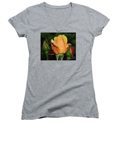 Women's V-Neck T-Shirt (Junior Cut) featuring the photograph Rose Bud by Elvira Ladocki