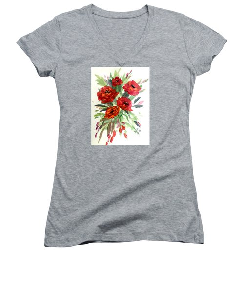 Women's V-Neck T-Shirt (Junior Cut) featuring the painting Rose Love by Dorothy Maier