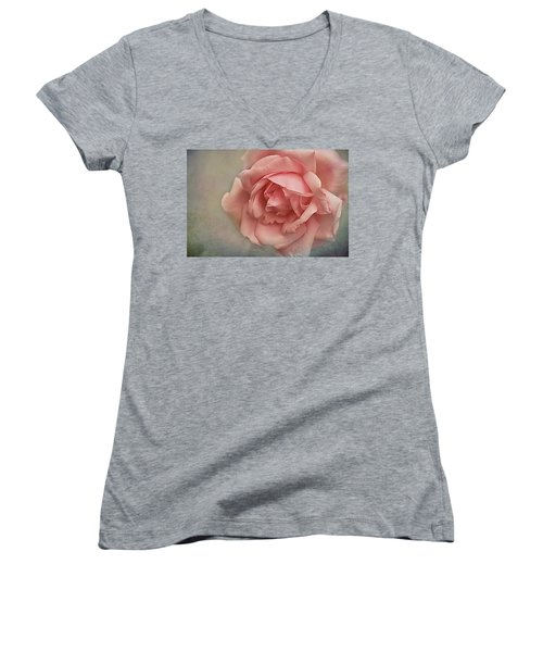 Women's V-Neck T-Shirt (Junior Cut) featuring the photograph Rose New Dawn by Jacqi Elmslie