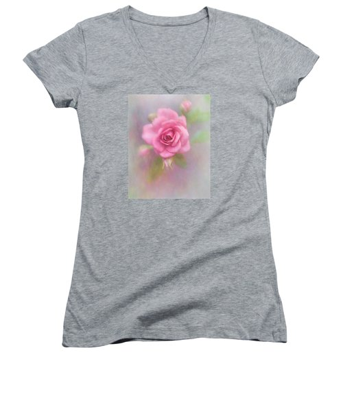 Rose Of Pink Women's V-Neck T-Shirt (Junior Cut) by David and Carol Kelly
