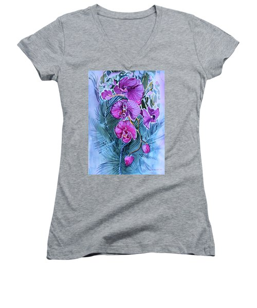 Women's V-Neck T-Shirt (Junior Cut) featuring the painting Rose Orchids by Mindy Newman