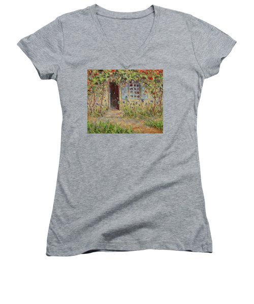 Rose Trees At The Front Of The House Women's V-Neck