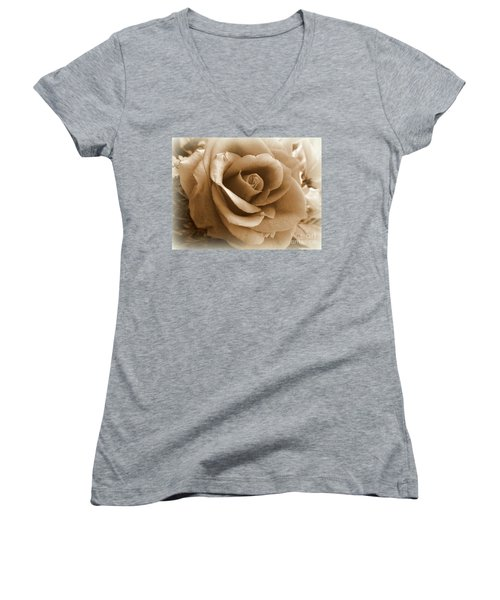Rose Vignette Women's V-Neck (Athletic Fit)
