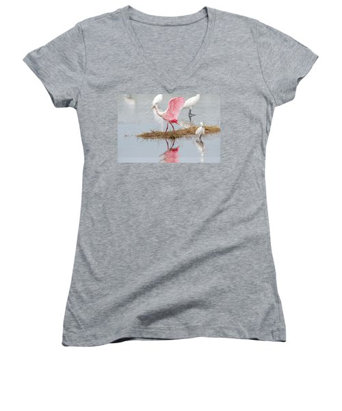 Roseate Spoonbill Flapping Wing While Looking For Food Women's V-Neck