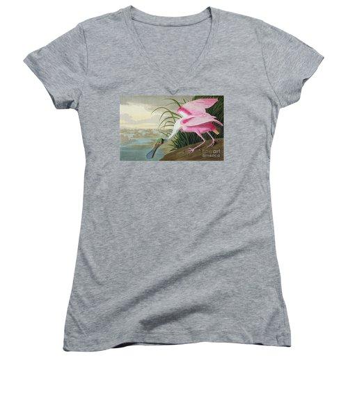 Roseate Spoonbill Women's V-Neck T-Shirt (Junior Cut) by John James Audubon