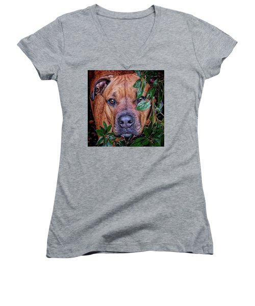 Women's V-Neck T-Shirt featuring the photograph Rosebud by Lewis Mann
