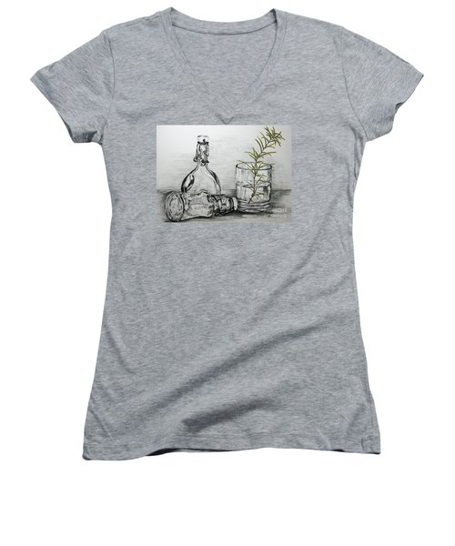 Women's V-Neck T-Shirt (Junior Cut) featuring the drawing Rosemary by Terri Mills