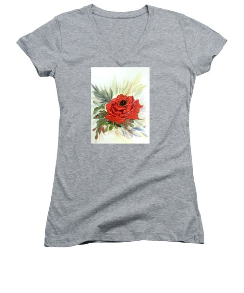 Women's V-Neck T-Shirt (Junior Cut) featuring the painting Roses Are Red by Dorothy Maier