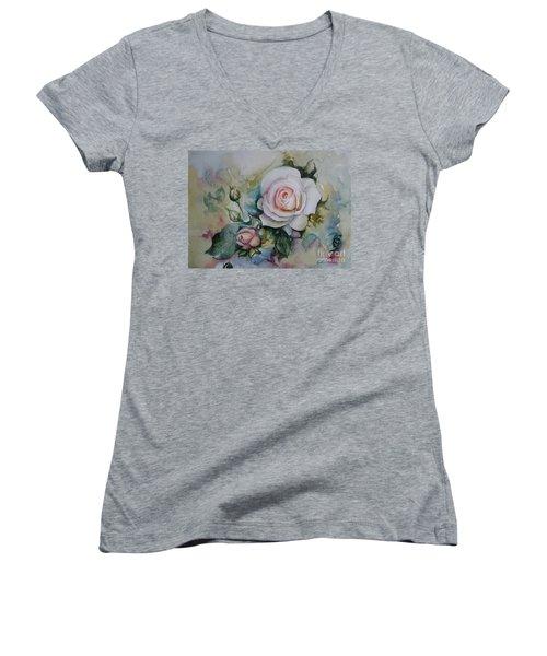 Roses Women's V-Neck T-Shirt (Junior Cut) by Elena Oleniuc