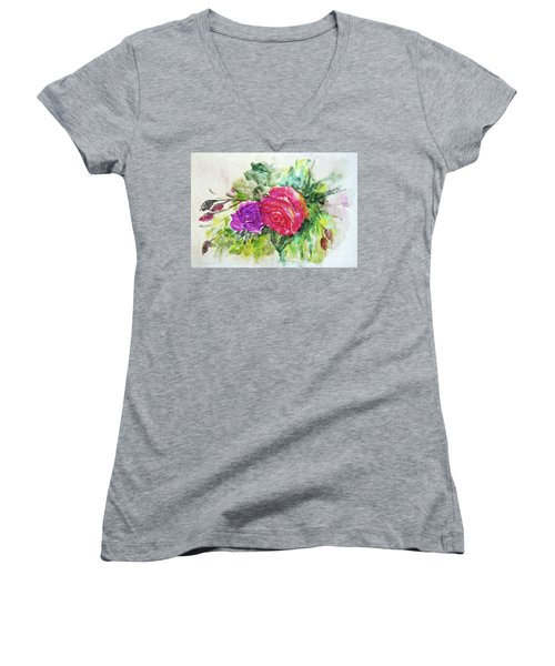 Roses For You Women's V-Neck T-Shirt (Junior Cut) by Jasna Dragun