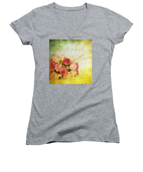 Roses Pattern Retro Design Women's V-Neck (Athletic Fit)